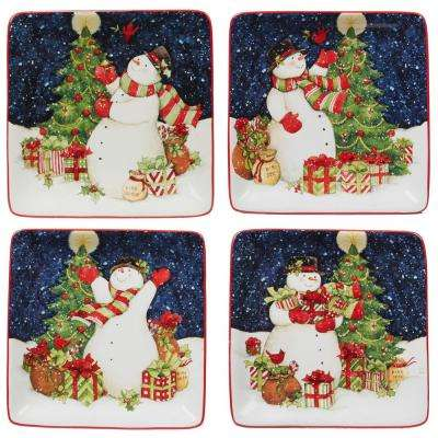 Starry Night Snowman by Susan Winget 6 in. Canape Plate (Set of 4)