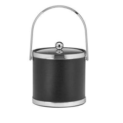 Sophisticates 3 Qt. Black w/Polished Chrome Ice Bucket with Track Handle, Metal Cover