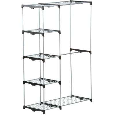 45.25 in. x 68 in. Double Rod Freestanding Closet Portable Wardrobe in Chrome