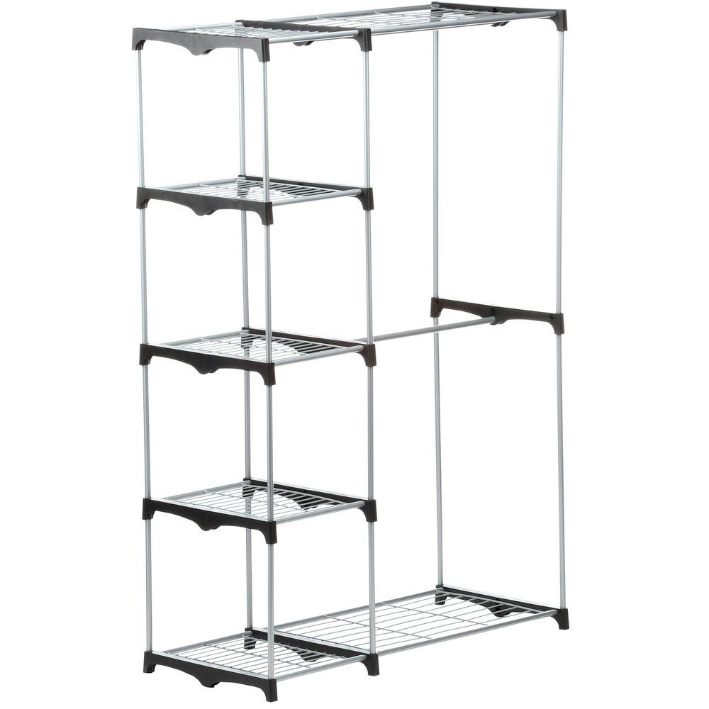 Honey Can Do Double Rod Freestanding Closet In Chrome