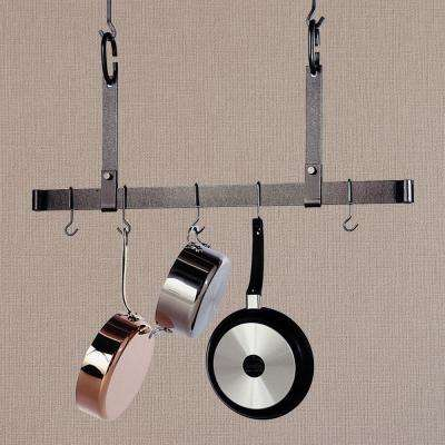 36 in. Hammered Steel Hanging Adjustable Ceiling Bar Pot Rack