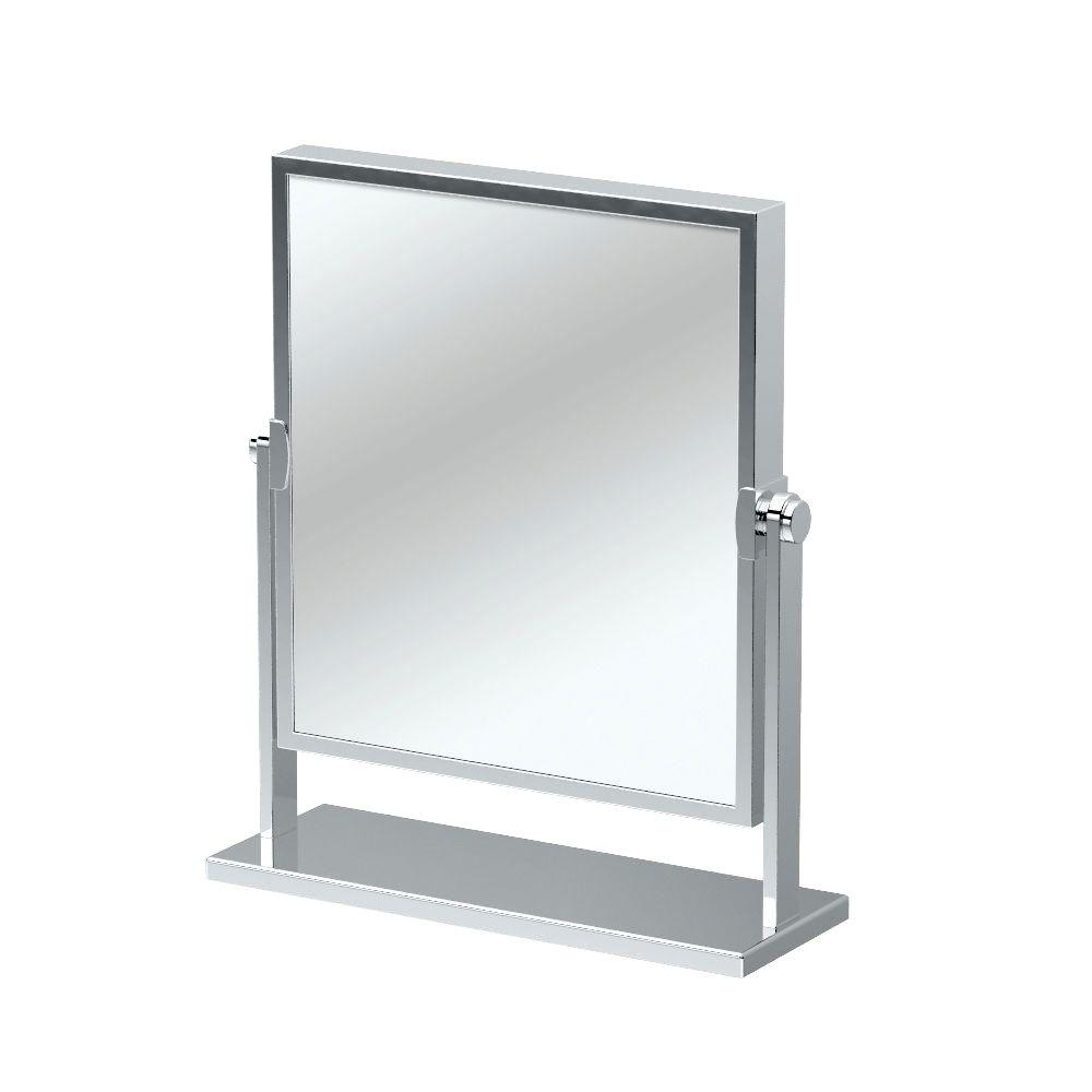 12 in. x 9.75 in. Single Elegant Table Mirror in Chrome