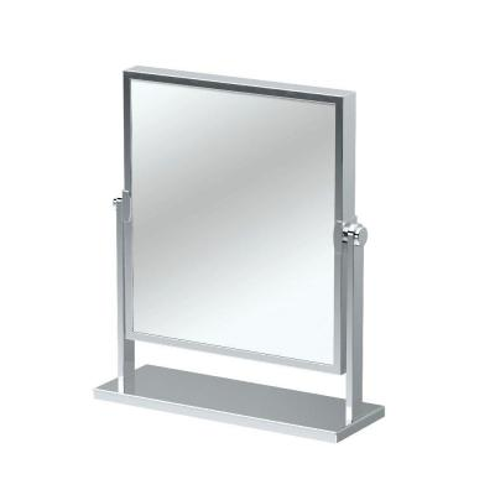 9.75 in. W x 12 in. H Single Elegant Table Makeup Mirror in Chrome