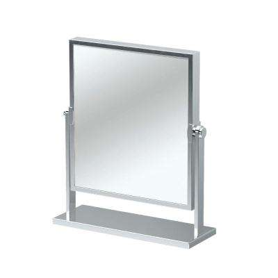 12 in. x 9.75 in. Single Elegant Table Makeup Mirror in Chrome