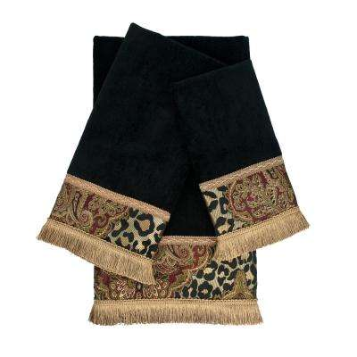 Tangiers Black Decorative Embellished Towel Set (3-Piece)