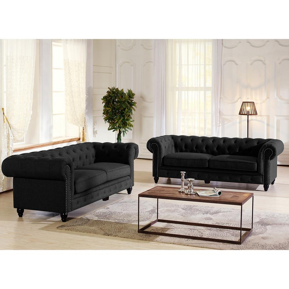 Cassandra Traditional Gray Fabric Upholstered Sofa, Dark ...