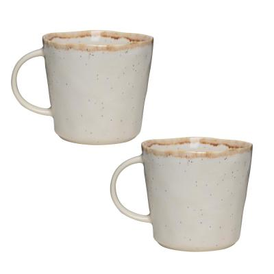 Primitive Moonstone 18 oz. Beige Ceramic Coffee Mug (Set of 2)