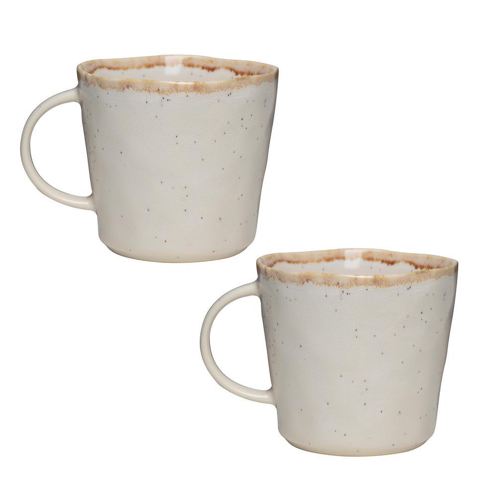 Primitive Moonstone 18 oz. Beige Ceramic Coffee Mug (Set of 2)
