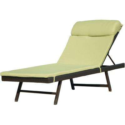 Orleans 2-Piece Metal Frame Outdoor Patio Chaise Lounge Chair and Woven Chaise Avocado Green Cushion