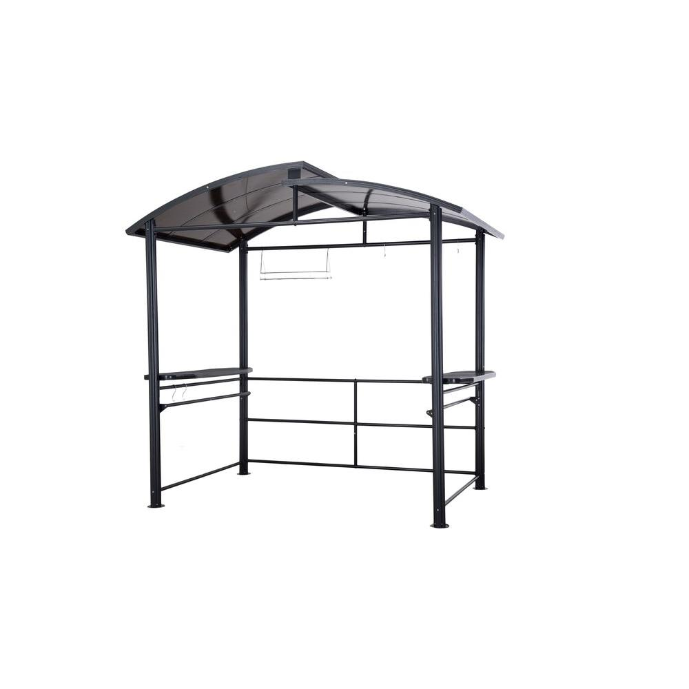 Sunjoy Denver 5 Ft X 7 6 Ft Dark Gray Steel Gazebo