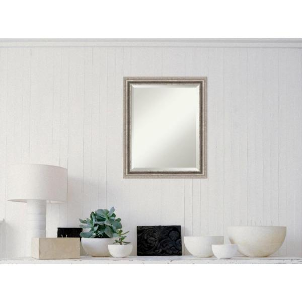 Medium Rectangle Silver Pewter Contemporary Mirror (24.88 in. H x 30.88 in. W)