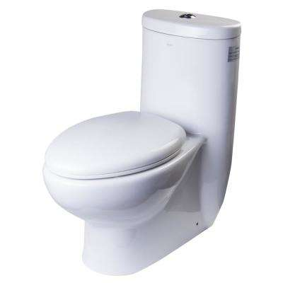 1-Piece 1.1/1.6 GPF Dual Flush Elongated Toilet in White