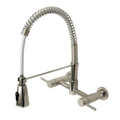 Modern 2-Handle Wall-Mount Pull-Down Sprayer Kitchen Faucet in Satin Nickel
