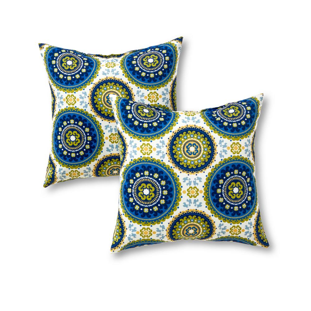 Greendale Home Fashions Summer Medallion Square Outdoor Throw Pillow (2-Pack)