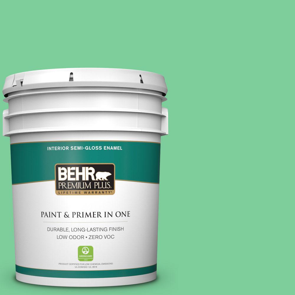 BEHR Premium Plus 5 gal. #460B-4 Garden Glow Semi-Gloss Enamel Zero VOC Interior Paint and Primer in One