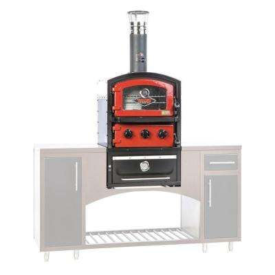 Alto Series Built-In Wood Fired Brick Oven Grill and Smoker in Red