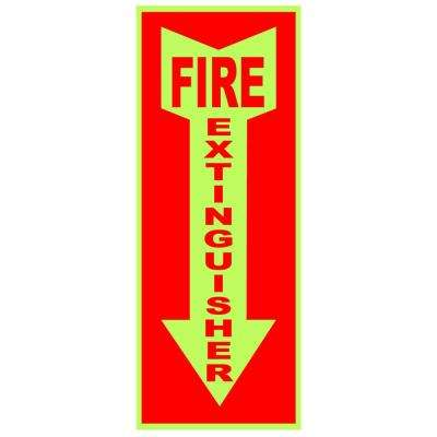 4 in. x 18 in. Glow-in-the-Dark Self-Adhesive Sticker Fire Extinguisher Arrow Down Sign