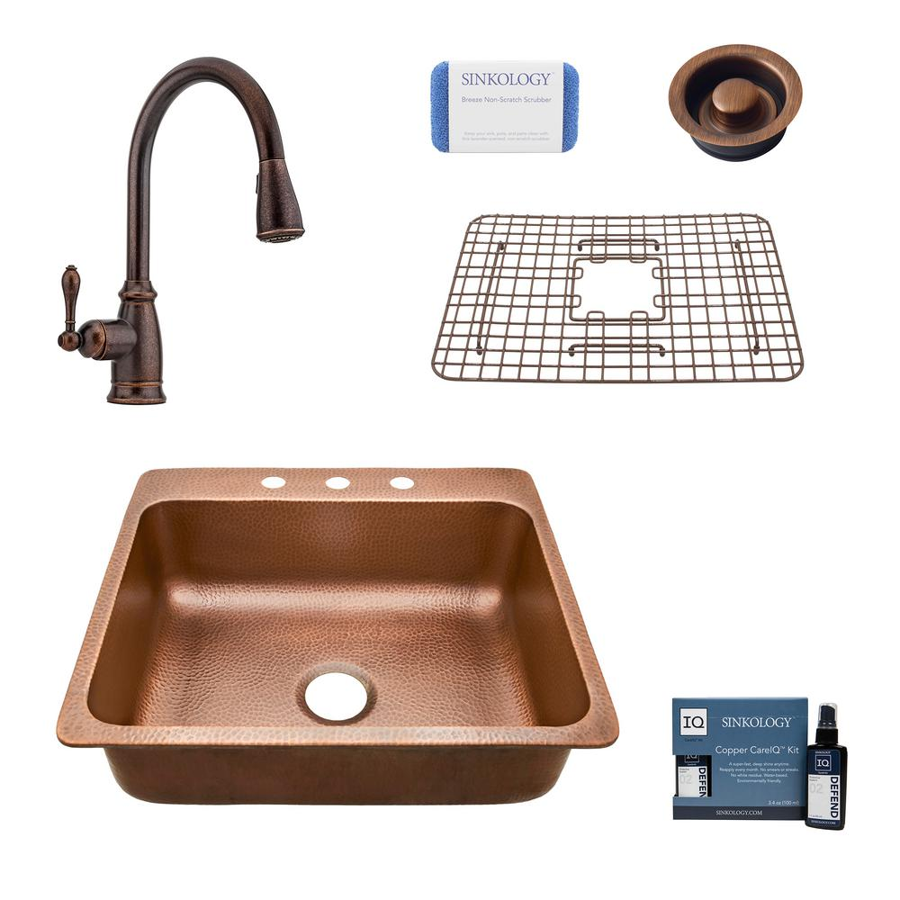 SINKOLOGY Rosa All-In-One Drop-In Copper 25 in. Single Bowl 3-Hole Copper Kitchen Sink with Pfister Bronze Faucet and Drain