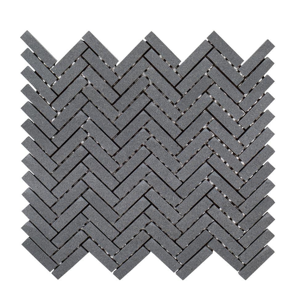 Basalt Herringbone Gray 10 in. x 10.75 in Honed Basalt Wall and Floor Mosaic Tile (0.765 sq. ft./Each)