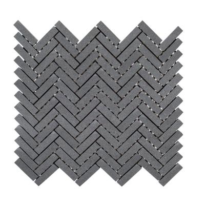 Basalt Herringbone Gray 10 in. x 10.75 in Honed Basalt Wall and Floor Mosaic Tile (0.765 sq. ft./Each)