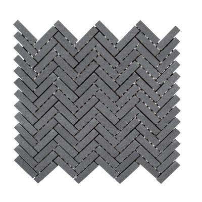 Basalt Herringbone Gray 11 in. x 10 in. x 8 mm Honed Basalt Mosaic Wall/Floor Tile