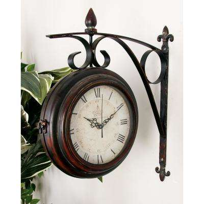 20 in. x 15 in. 2-Sided Brown Extended Wall Clock