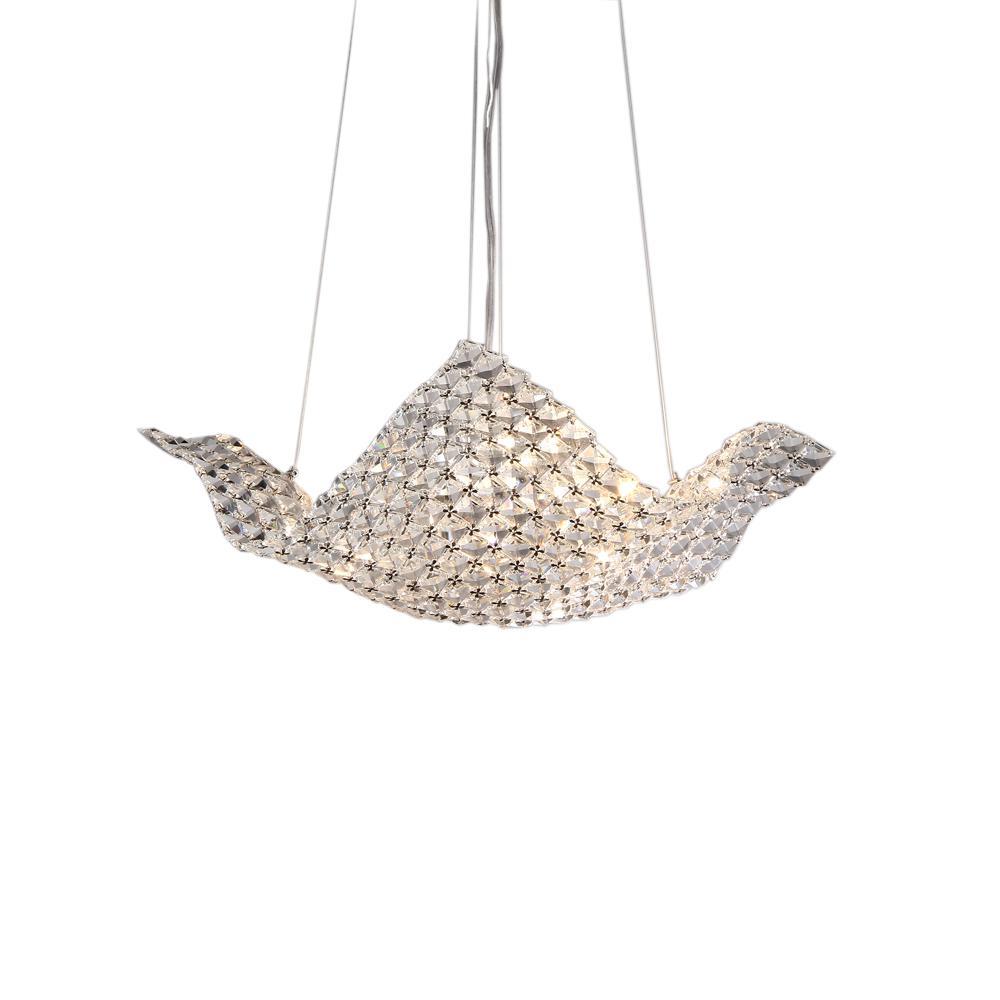 Rapunzel Basket 6-Light Chrome Indoor Hanging Crystal Chandelier with Shade
