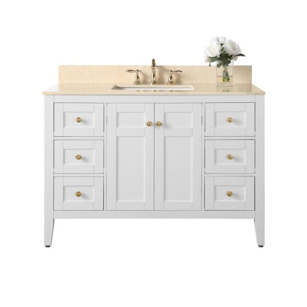 Maili 48 in. W x 22 in. D Bath Vanity with Marble Vanity Top in Galala Beige with White Basin and Gold Hardware