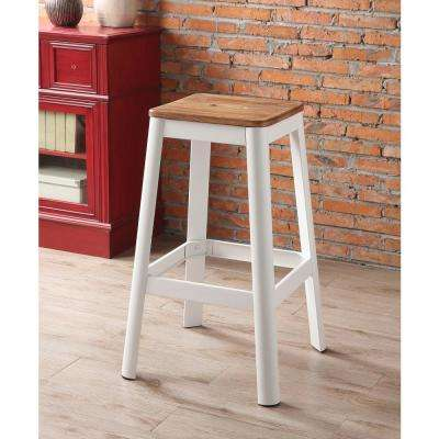 Jacotte 30 in. Natural and White Bar Stool
