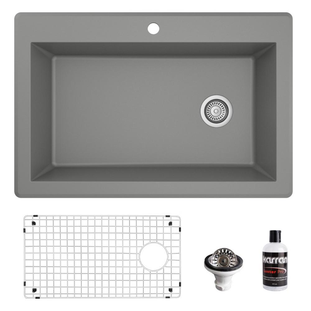 QT-670 Top Mount Quartz/Granite Composite 33 in. Single Bowl Drop-In Kitchen Sink with Grid & Basket Strainer in Grey