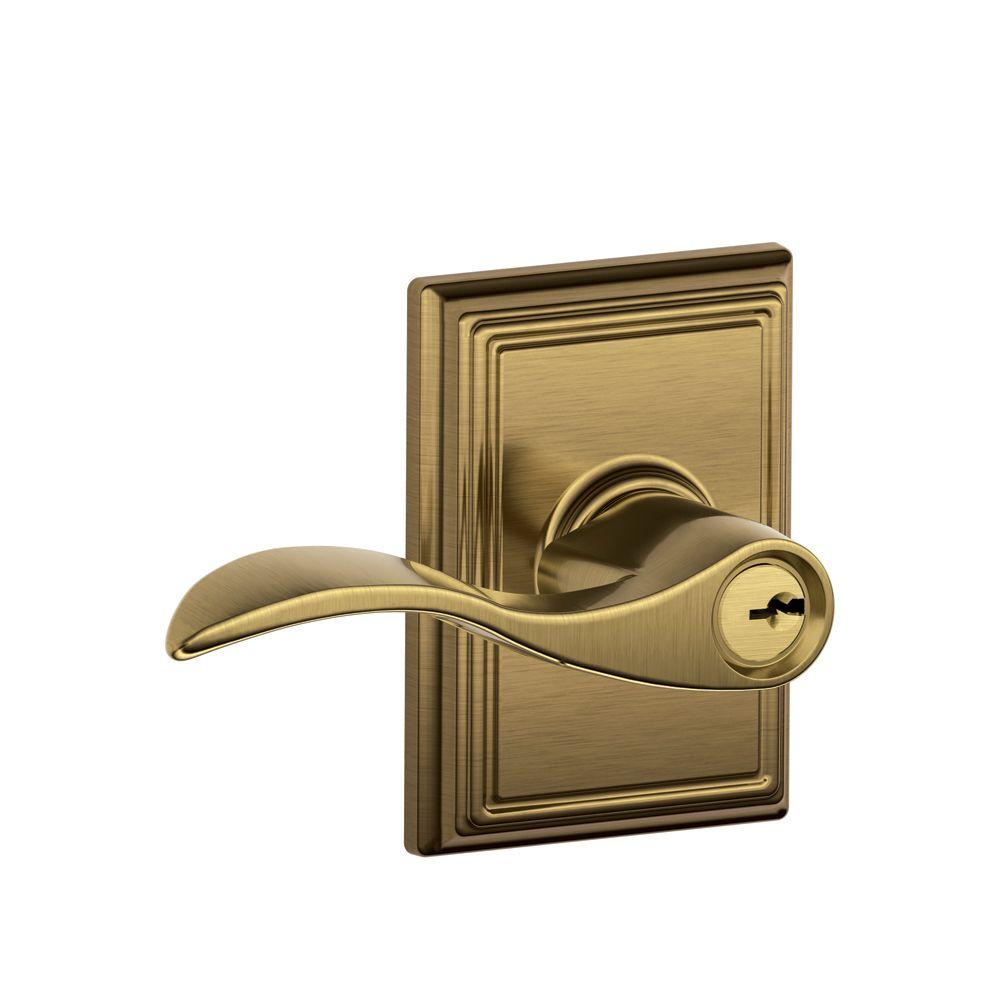 Addison Collection Antique Brass Accent Keyed Entry Lever