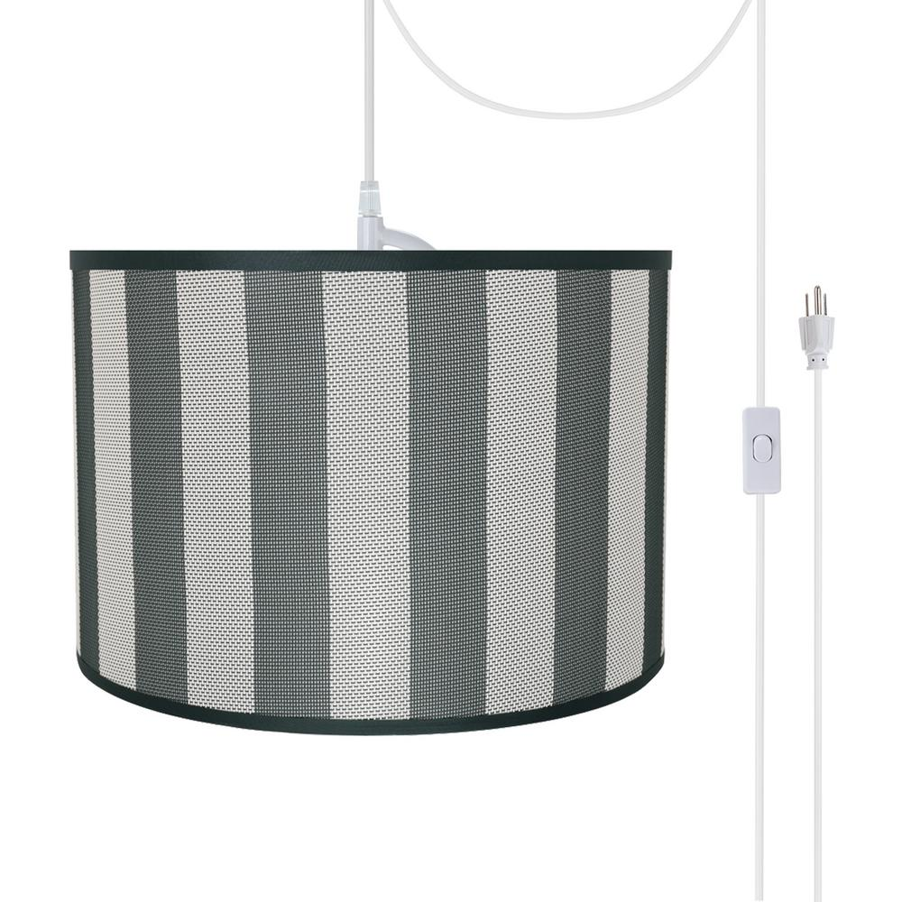 Aspen Creative Corporation 2 Light White Plug In Swag Pendant With Hunter Green And White Hardback Drum Fabric Shade 71161 21 The Home Depot