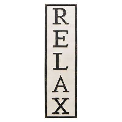 White Metal Novelty Sign- Relax