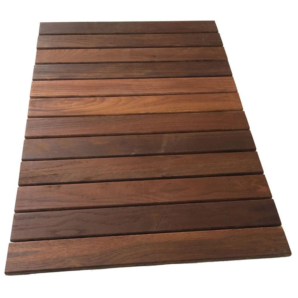 Rollfloor 2 ft x 3 ft camping wood deck tile pads in for Hardwood outdoor decking