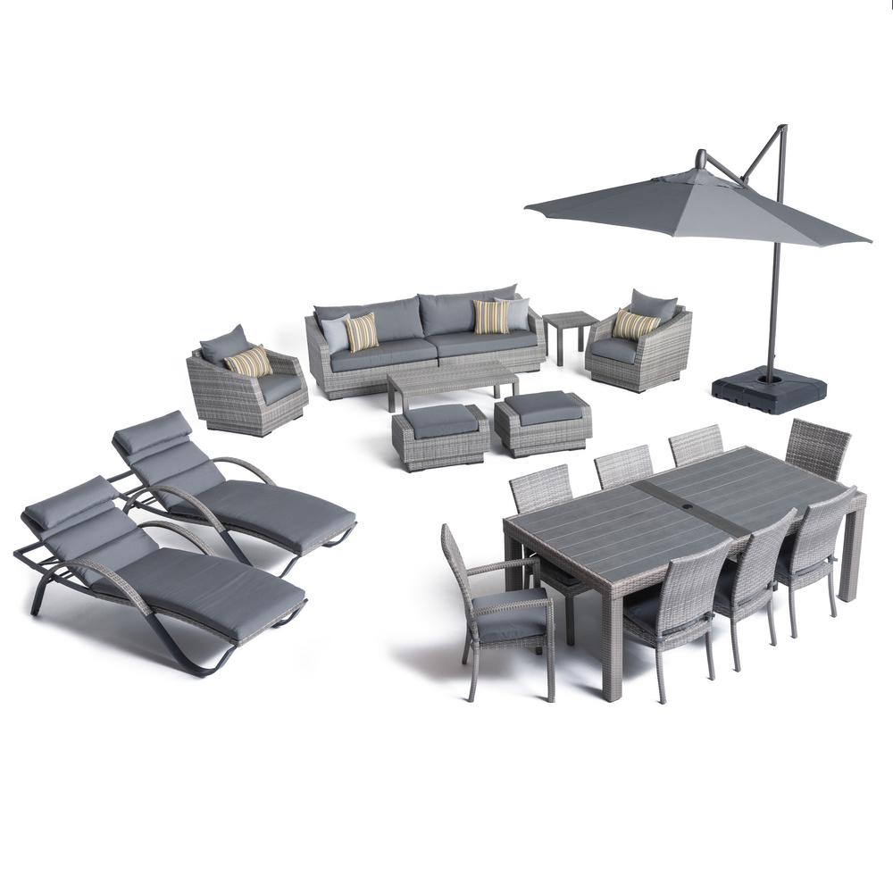 Cannes Estate Wicker 20-Piece Patio Conversation Set with Sunbrella Charcoal