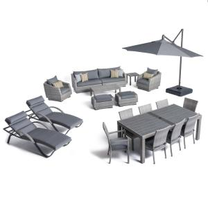 RST Brands Cannes Estate Wicker 20-Piece Patio Conversation Set with Sunbrella Charcoal Grey Cushions by RST Brands