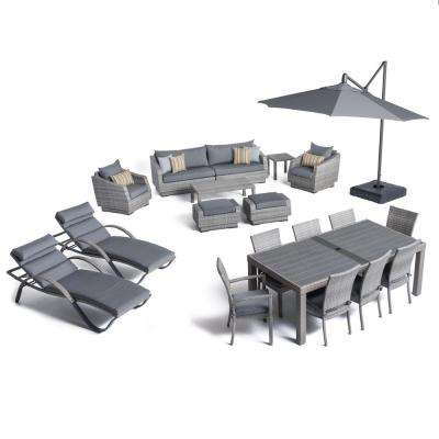 Cannes Estate Wicker 20-Piece Patio Conversation Set with Sunbrella Charcoal Grey Cushions