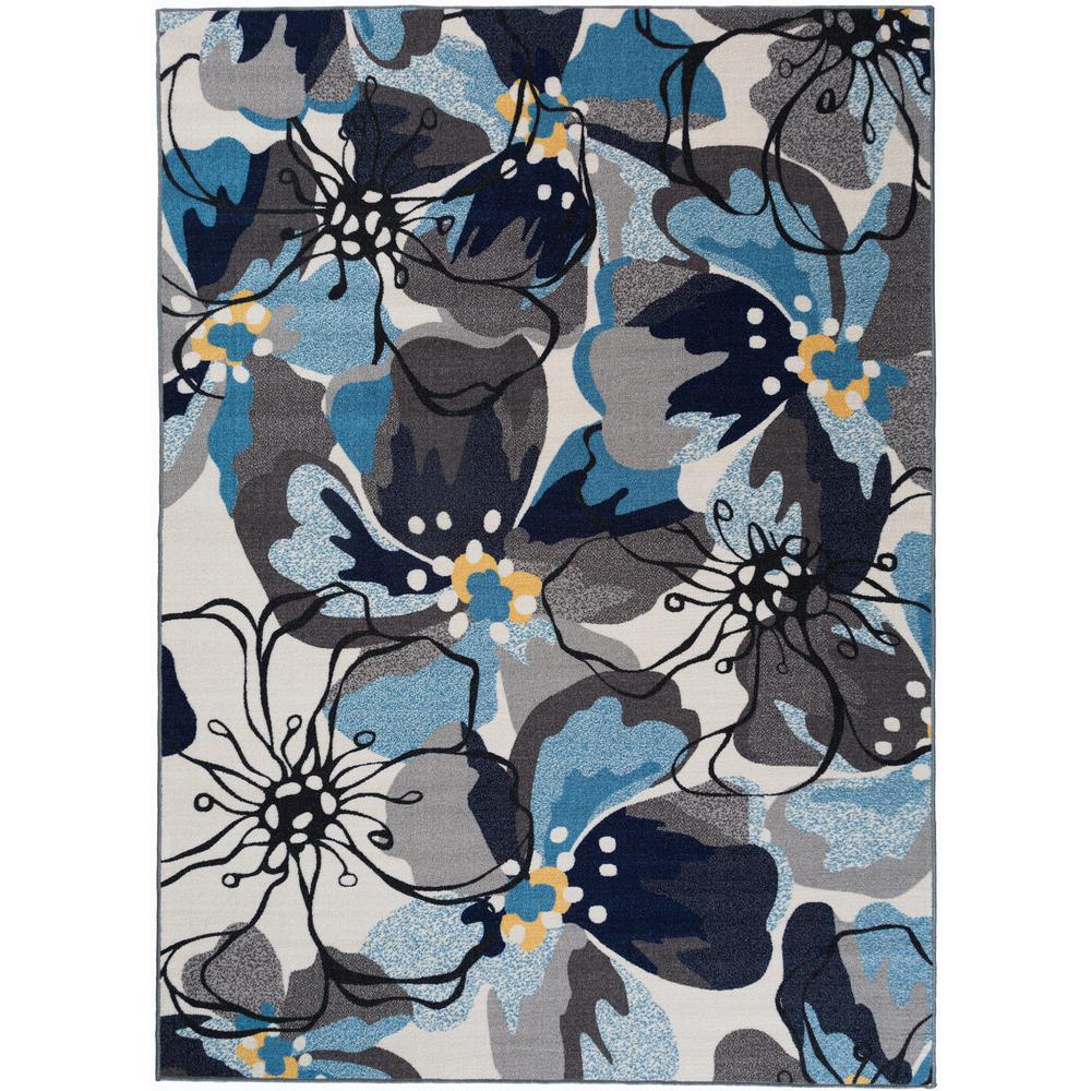 Modern Large Floral Non Slip Non Skid Gray Blue Area Rug