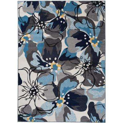 Modern Large Floral Non-Slip (Non-Skid) Gray-Blue Area Rug 8 ft. x 10 ft.