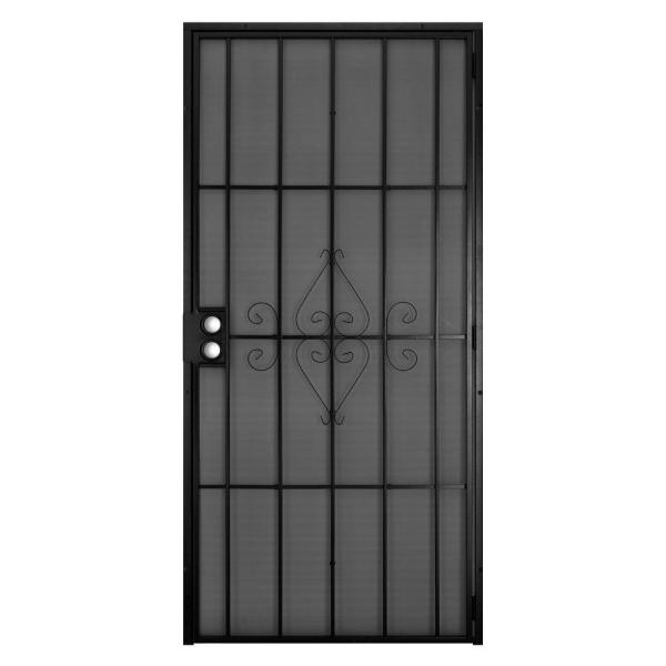 32 in. x 80 in. Su Casa Black Surface Mount Outswing Steel Security Door with Expanded Metal Screen