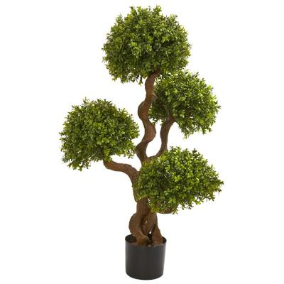 3.5 Ft. Four Ball Boxwood Artificial Topiary Tree