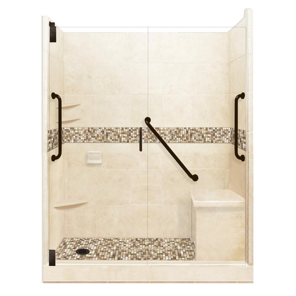 American Bath Factory Roma Freedom Grand Hinged 42 in. x 60 in. x 80 in. Left Drain Alcove Shower Kit in Desert Sand and Old Bronze Hardware