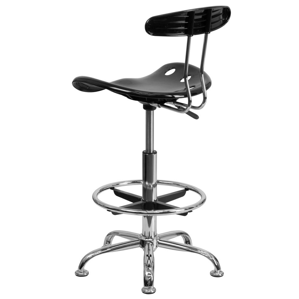 Carnegy Avenue Vibrant Black and Chrome Drafting Stool with Tractor Seat