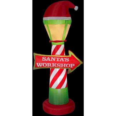 3.5 ft. W x 7 ft. H Inflatable Santa's Workshop Lamp Post and Sign