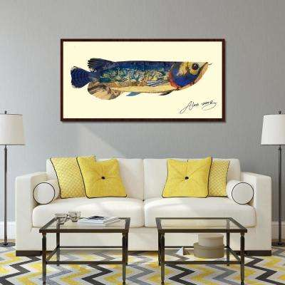 """26 in. x 49 in. """"Arowana"""" Hand Made Art Collage by Alex Zeng in Solid Wood Dark Brown Frame Wall Art"""