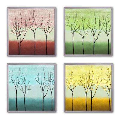 "10 in. x 10 in. ""Sparse Trees"" Framed Wall Art (Set of 4)"