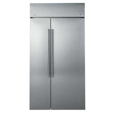 48 in W 25.2 cu. ft. Built-In Side by Side Refrigerator in Stainless Steel