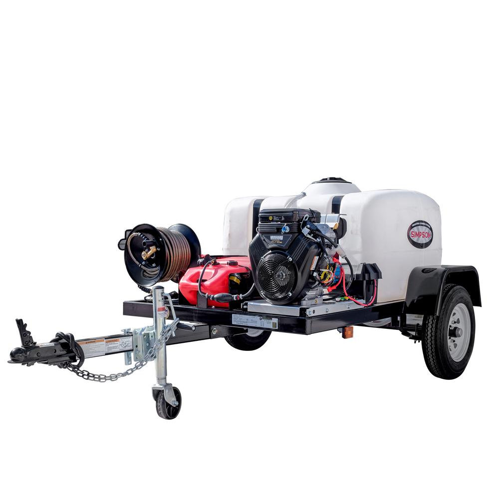 4200 PSI at 4.0 GPM V-Twin Electric Start Cold Water Gas Pressure Washer Trailer System and Low Oil Shutdown