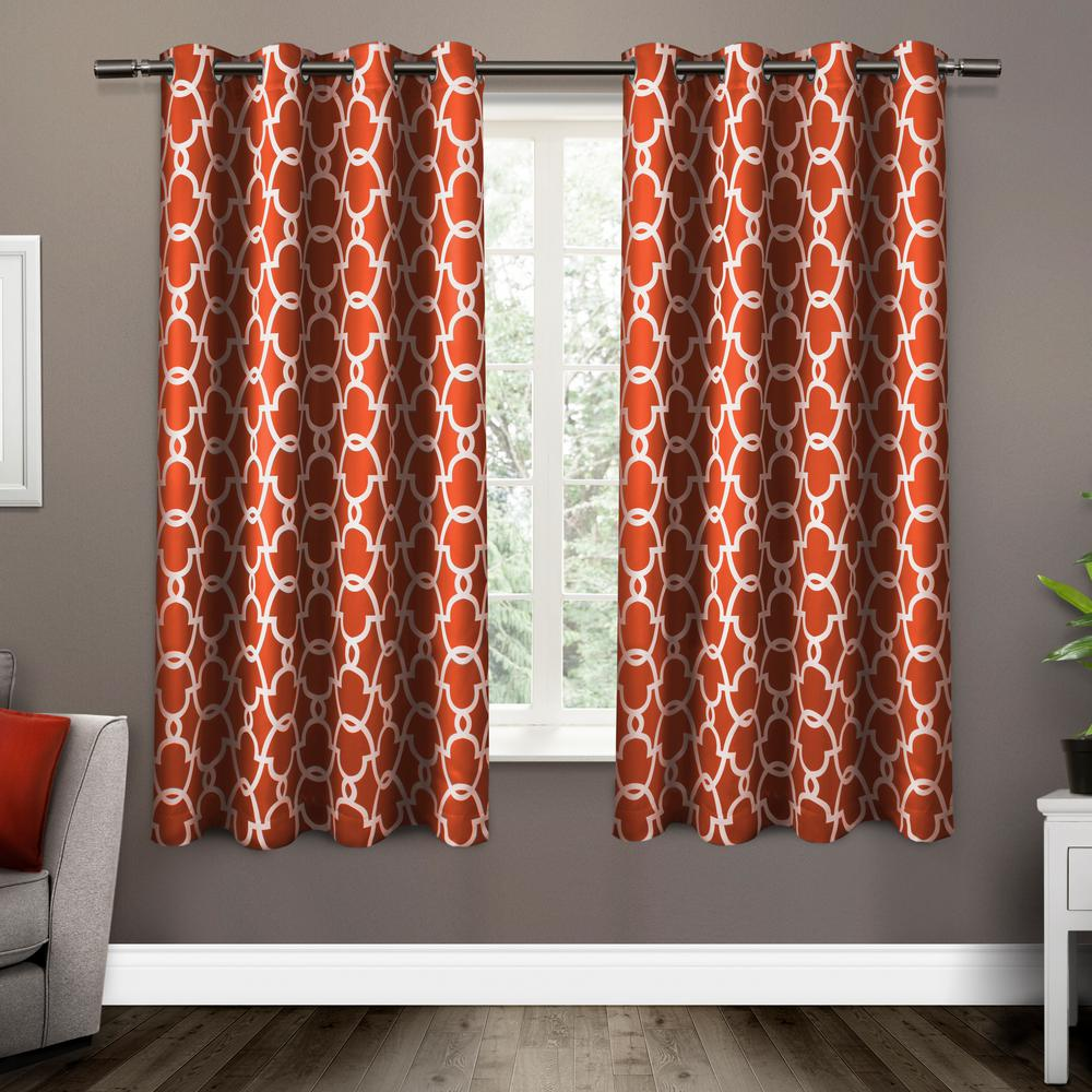 Gates 52 In W X 63 L Woven Blackout Grommet Top Curtain Panel Mecca Orange 2 Panels Eh8134 06 63g The Home Depot