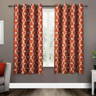 Gates 52 in. W x 63 in. L Woven Blackout Grommet Top Curtain Panel in Mecca Orange (2 Panels)